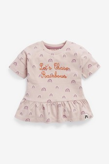 Lilac Slogan Organic Cotton Peplum T-Shirt (3mths-7yrs)