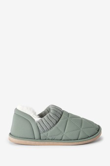 Green Quilted Slippers