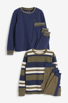 Khaki/ Navy Stripe 2 Pack Pyjamas (3-16yrs)