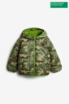 Benetton Green Camouflage Reversible Jacket