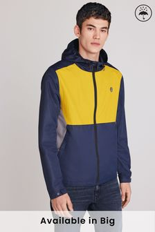 Navy/Yellow Shower Resistant Colourblock Jacket With Fleece Lining