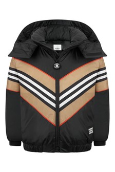 Kids Black Icon Stripe Padded Jacket