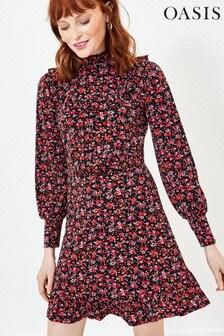 Oasis Red Rose Print Skater Dress