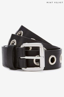 Mint Velvet Black Eyelet Leather Belt