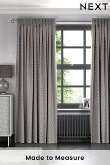 Dawson Geo Grey Made To Measure Curtains