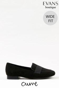 Evans Curve Wide Fit Black Loafers