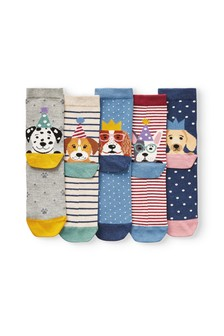 Heeled Party Dog Ankle Socks Five Pack