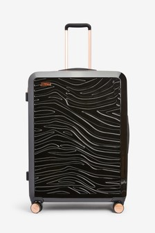 Black Large Zebra Embossed Hard Shell Suitcase