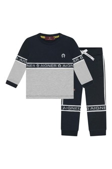 Baby Boys Navy/Grey Cotton Tracksuit