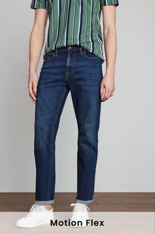 Mid Blue Straight Fit Motion Flex Stretch Jeans