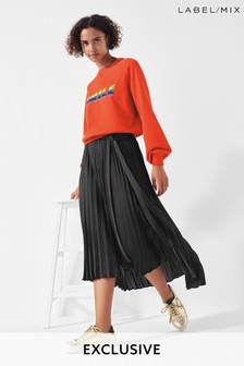 Mix/A.W.A.K.E. Mode Satin Pleat Skirt