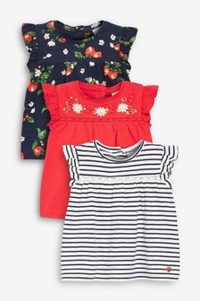 Red/Navy 3 Pack Stripe And Strawberry Print T-Shirts (0mths-2yrs)