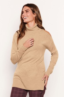 Oatmeal Cut Out Roll Neck Jumper