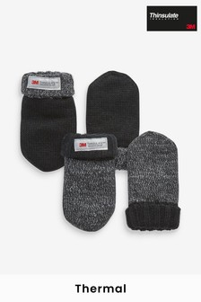Charcoal 2 Pack Thinsulate™ Mittens (Younger)