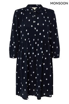 Monsoon Blue Dakota Dot Print Sustainable Short Dress