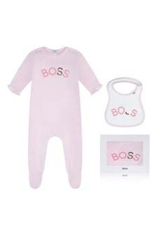 Girls Pink Cotton Babygrow Two Piece Set