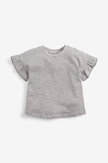 Monochrome Stripe Frill Sleeve T-Shirt (3mths-7yrs)