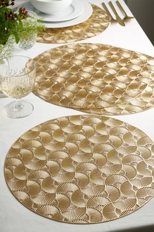 Set of 4 Gold Metallic Laser Cut Placemats
