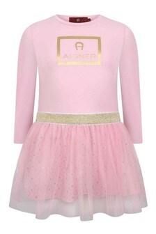 Girls Pink Jersey & Tulle Logo Dress