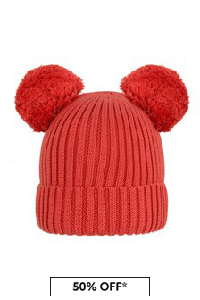 Girls Red Organic Cotton Ear Hat