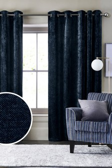 Cosy Chenille Eyelet Lined Curtains