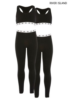River Island Black Crop Top And Leggings Two Pack