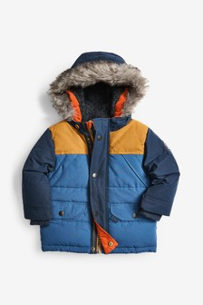Navy Colourblock Parka (6mths-7yrs)