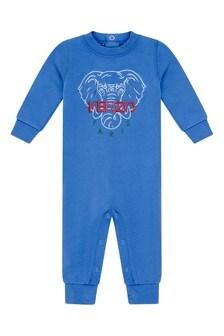 Baby Boys Blue Cotton Elephant Romper