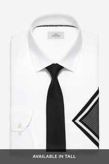 White Skinny Fit Single Cuff Shirt With Black Tie And Pocket Square