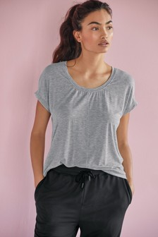 Grey Short Sleeve Slouch Sports Top