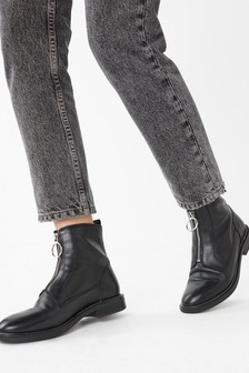 Black Signature Zip Boots
