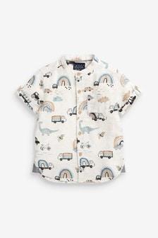 Neutral Rainbow Print Short Sleeve Shirt With Grandad Collar (3mths-7yrs)