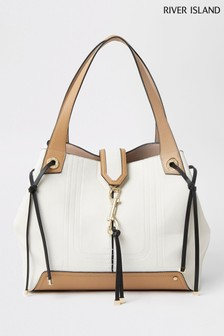 River Island Cream Clip Front Slouch Bag