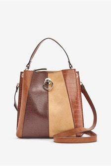 Tan Spliced Texture Bucket Bag With Across-Body Strap