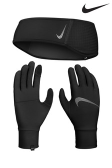 Nike Black Headband And Gloves Set