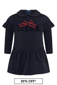 Baby Girls Navy Cotton Dress