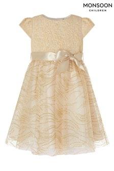 Monsoon Gold Baby Franceska Jacquard Dress