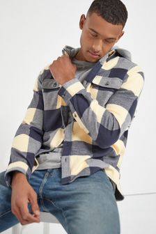 Grey Regular Fit Brushed Flannel Heavyweight Hooded Check Shacket