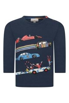 Baby Boys Navy Cotton Cars T-Shirt