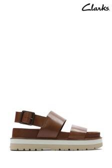 Clarks Dark Tan Lea Orianna Strap Sandals