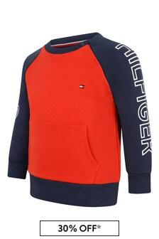 Baby Boys Red/Navy Cotton Sweatshirt