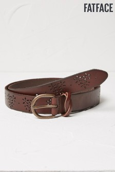 FatFace Brown Flower Cut Out Leather Belt