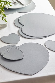 Set of 4 Heart Shaped Faux Leather Placemats And Coasters