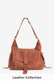 Tan Leather Hardware Pocket Hobo Bag