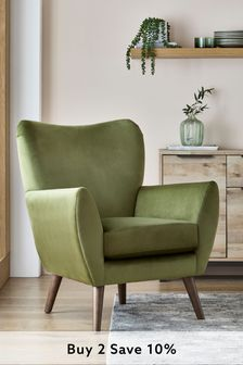 Opulent Velvet Olive Wilson Accent Chair With Mid Legs