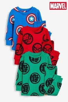 Blue/Red/Green Marvel® 3 Pack Snuggle Pyjamas (9mths-12yrs)