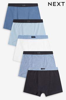 Blue Plain 5 Pack Trunks (2-16yrs)
