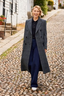 Grey Emma Willis Check Double Breasted Coat