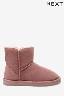 Mink Suede Slipper Boots