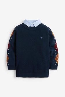 Navy Arglye Mock Shirt Jumper (3mths-7yrs)
